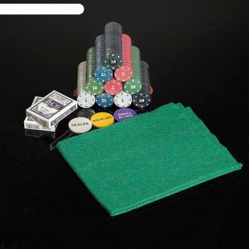 Набор для покера в мет.коробке 500 фишек с/ном. 4гр,2 колоды карт бум. х54