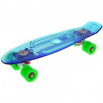 Скейтборд yb-502 светящийся, размер 56,5x15 см, колеса pu d= 60*45 мм, алю