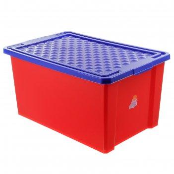 Ящик для игрушек большой 57 л лего на колесах, с крышкой, микс