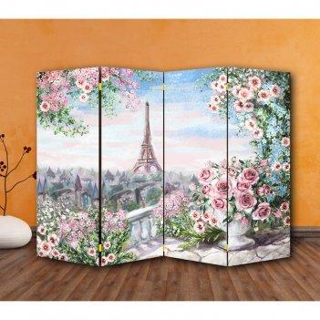 Ширма картина маслом. розы и париж, 200 x 160 см