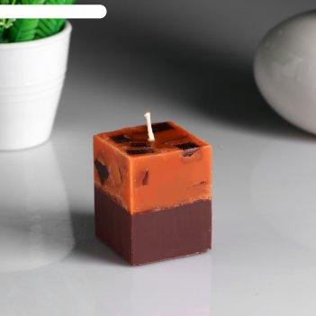 Свеча- куб апельсин- кофе ароматическая, 5x6 см