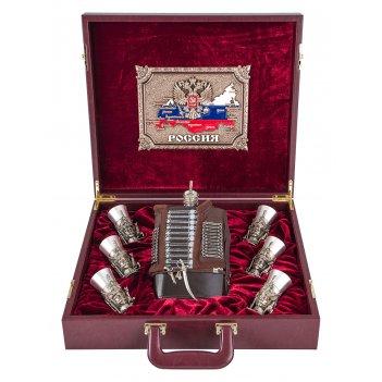 Подарочный набор гусарский в кейсе,  ( 36х41х11см.)-6 чарок из
