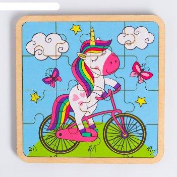 Пазл - вкладыш в рамке единорог на велосипеде 16х16 см  rd006