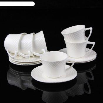 Сервиз кофейный клио, 12 предметов: 6 чашек 160 мл 10,5х8,2х6,5 см, 6 блюд