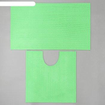 Набор ковриков для ванны и туалета «моно зелёный», 2 шт: 50x50, 50x80 см
