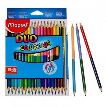 Карандаши трехгранные двухсторонние, 36 цветов (18 штук) color peps, европ