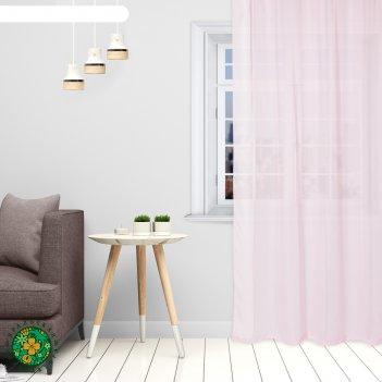 Тюль «этель» 290x300 см, цвет розовый, вуаль, 100% п/э