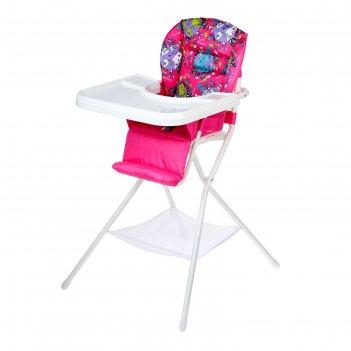 Стульчик для кормления с белым столиком, цвет розовый
