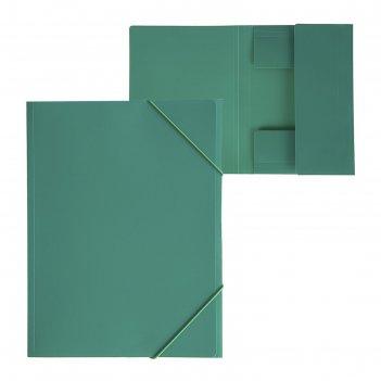 Папка на резинке а4, 500 мкм, calligrata, песок, зелёная