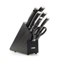 Набор ножей 5 предметов, мусат, ножницы, на деревянной подставке, серия cl