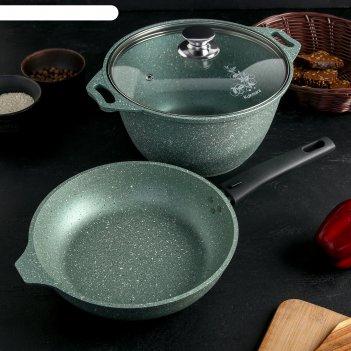 Набор кухонной посуды №9, ап линия мраморная (фисташковый мрамор)