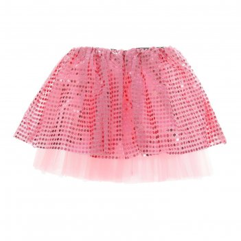 Карнавальная юбка блеск 3-х слойная 4-6 лет, цвет розовый