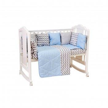 Комплект в кроватку «зигзаг», 5 предметов, цвет серо-голубой