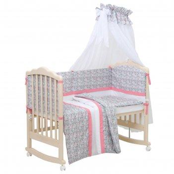 Комплект в кроватку «последний богатырь» 7 предметов, принт принцесса, цве