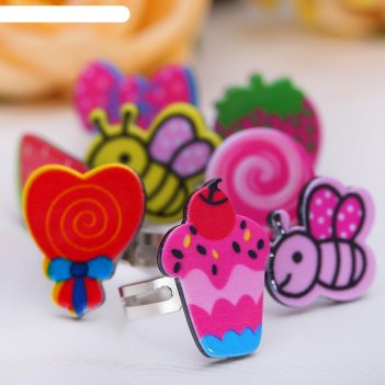 Кольцо детское выбражулька фруктовое ассорти, форма микс, цвета микс, безр