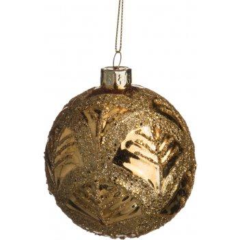 Декоративное изделие шар стеклянный диаметр=8 см. высота=9 см. цвет: золот