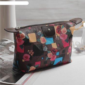 Косметичка-сумочка  стиль, 22*5,5*12см, отдел на молнии, черный