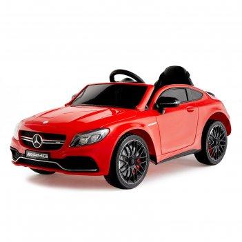 Электромобиль mercedes-benz c63 s amg, окраска красный, eva колеса