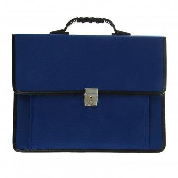 Портфель деловой ткань 380 х 290 х 100 мм, сосново, синий с ремнём