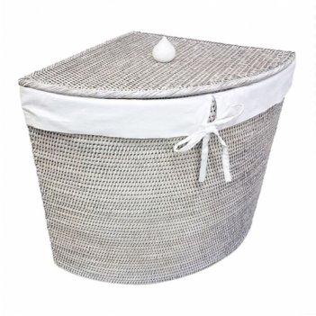 Угловая плетеная корзина с тканевым вложением