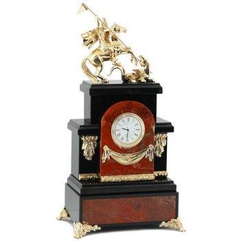 Каминные часы из яшмы георгий победоносец, камень яшма, долерит