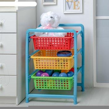 Этажерка для игрушек радуга, 3 секции