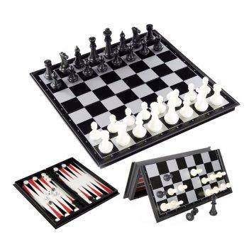 Шахматы + нарды + шашки 3 в 1 магнитные, 30
