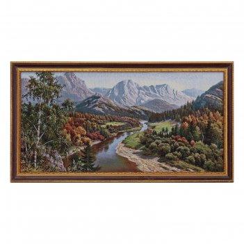 Гобеленовая картина река в осеннем лесу и горы  45*85 см