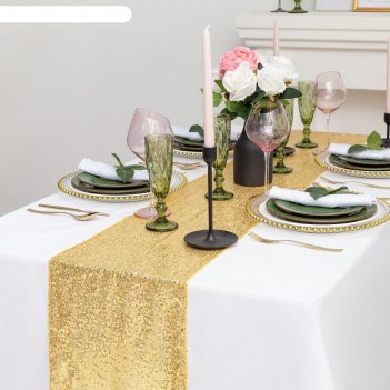 Дорожка с пайетками на стол, цв.золото, 30*160 см