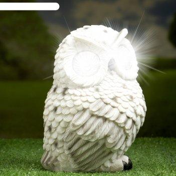 Садовый светильник полярная сова на солнечной батарее, 19 см