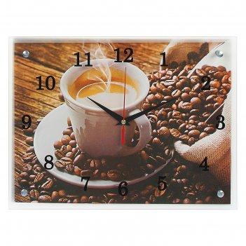 Часы настенные, серия: кухня, чашка кофе, 30х40  см, микс