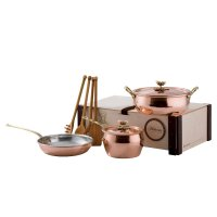 Набор медной посуды 5 предметов: сотейник, ковш, сковорода,