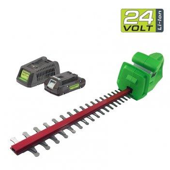 Кусторез аккумуляторный 47 см greenworks 24v g24ht, с акб и зу, садовая те