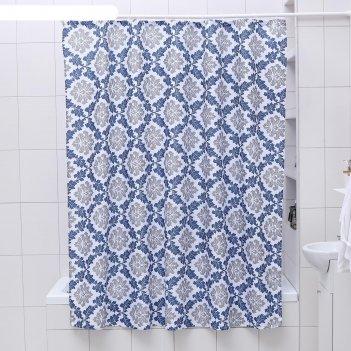 Штора для ванной 180x180 см вензель, полиэстер, цвет сине-серый