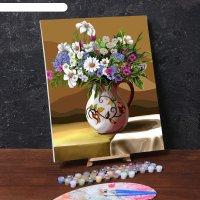 Картина по номерам на холсте с подрамником полевые цветы 40*50 см