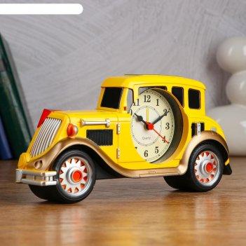 Будильник настольный автомобиль d=7.5 см, 25х12 см, дискретный ход