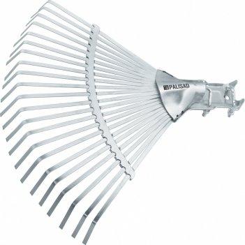 Грабли веерные стальные, 450 мм, 22 плоских зуба, регулируемая тулейка, бе