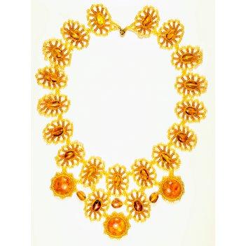 Роскошное ожерелье из натурального янтаря и бисера