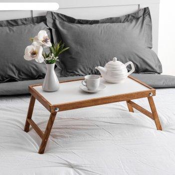 Столик для завтрака ренессанс, цвет итальянский орех, массив ясеня, 50х30