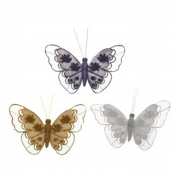 Изделие декоративное  на клипсе бабочка, l18 см, 2в.
