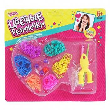 Резиночки для плетения сердечко, 6 цветов резиночек по 30 шт., пяльца, крю