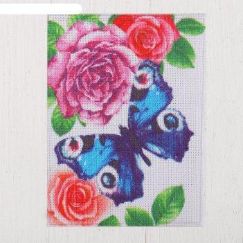 Канва для вышивки крестиком бабочка в цветах, 20*15 см