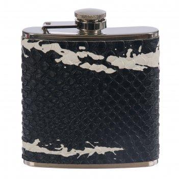 Фляжка металл+кожа 6оz, черная змея, лак, с белыми пятнами, 9*9,5 см