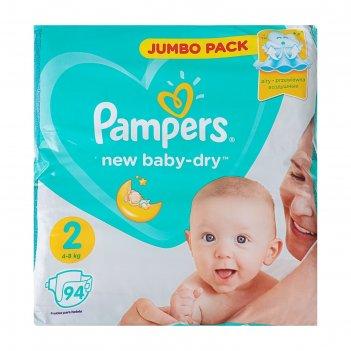 Подгузники pampers new baby-dry, mini 2 (4-8 кг), 94 шт.