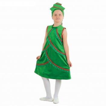 Карнавальный костюм ёлочка плюшевая, платье со стойкой, кокошник, р-р 28,