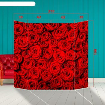 Ширма - фотозона алые розы 210x190см