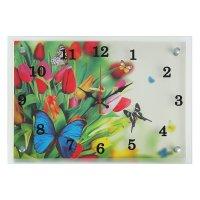 Часы настенные прямоугольные бабочки в саду, 25х35 см