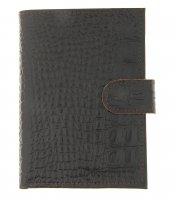 Обложка автодокументы+паспорт+бумажник, натуральная кожа, кайман коричневы