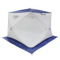 Палатка призма 230 (3-сл) стежка 210/100 с 2 входами люкс алюминий, бело-с