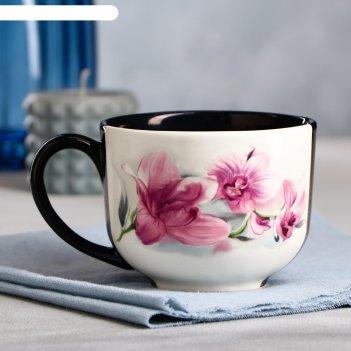 Чашка букет орхидей, черно-белая, 0.5 л